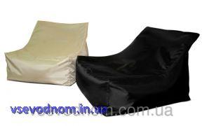 Черное бескаркасное кресло-лежак из ткани Оксфорд